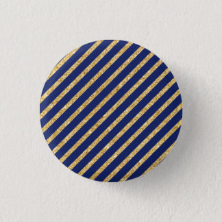 Navy Blue and Gold Glitter Diagonal Stripe Pattern Button