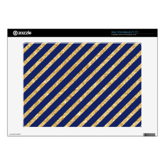 Navy Blue and Gold Glitter Diagonal Stripe Pattern Decal For Acer Chromebook
