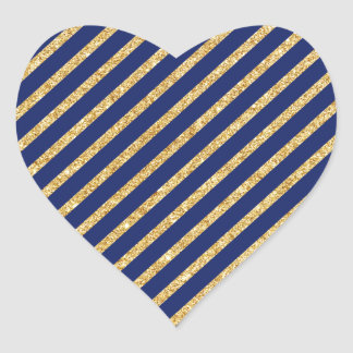 Navy Blue and Gold Glitter Diagonal Stripe Pattern Heart Sticker