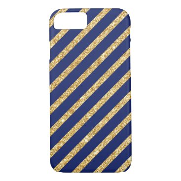 Beach Themed Navy Blue and Gold Glitter Diagonal Stripe Pattern iPhone 7 Case
