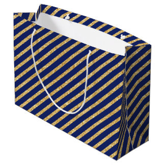 Gold Navy Blue Gift Bags | Zazzle