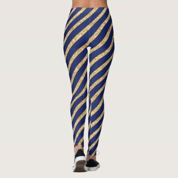 Beach Themed Navy Blue and Gold Glitter Diagonal Stripe Pattern Leggings
