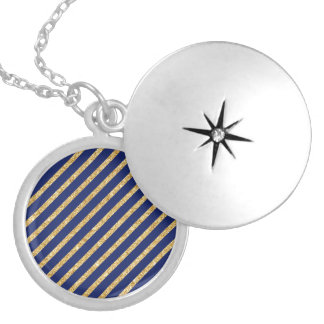 Navy Blue and Gold Glitter Diagonal Stripe Pattern Locket Necklace