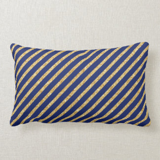 Navy Blue and Gold Glitter Diagonal Stripe Pattern Lumbar Pillow
