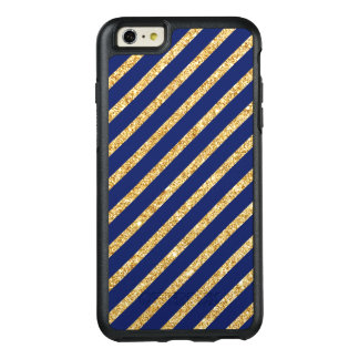 Navy Blue and Gold Glitter Diagonal Stripe Pattern OtterBox iPhone 6/6s Plus Case