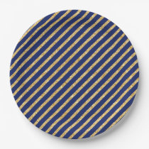 Navy Blue and Gold Glitter Diagonal Stripe Pattern Paper Plate