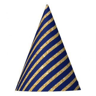 Navy Blue and Gold Glitter Diagonal Stripe Pattern Party Hat