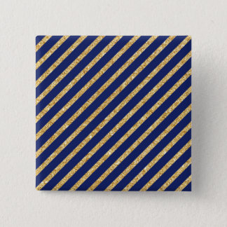 Navy Blue and Gold Glitter Diagonal Stripe Pattern Pinback Button