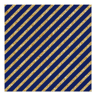 Navy Blue and Gold Glitter Diagonal Stripe Pattern Poster