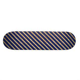 Navy Blue and Gold Glitter Diagonal Stripe Pattern Skateboard Deck