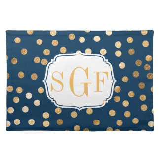 Navy Blue and Gold Glitter Dots Monogram Placemat