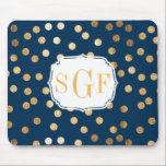 "Navy Blue and Gold Glitter Dots Monogrammed Mouse Pad<br><div class=""desc"">Modern and on-trend dots of faux gold glitter sparkle on this classic navy blue mousepad that features a custom three-letter monogram.</div>"