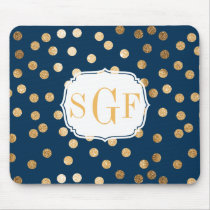 Navy Blue and Gold Glitter Dots Monogrammed Mouse Pad