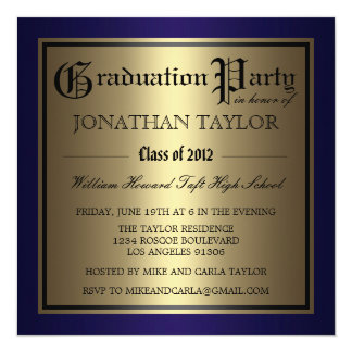 Navy Blue and Gold Graduation 5.25x5.25 Square Paper Invitation Card