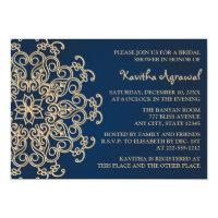 Navy Blue and Gold Indian Style Bridal Shower Card (<em>$2.16</em>)