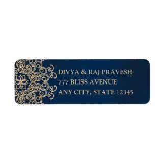 Navy Blue and Gold Indian Style Return Address Label