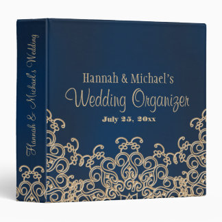 Navy Blue and Gold Indian Style Wedding Planner 3 Ring Binder