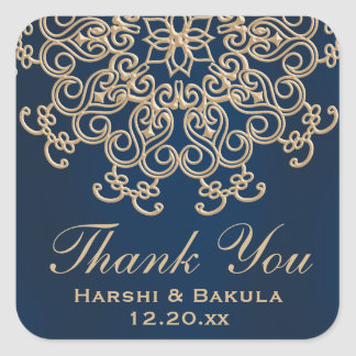 Navy Blue and Gold Indian Style Wedding Thank You Square Sticker