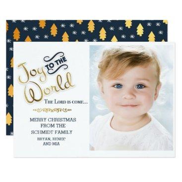 Beach Themed Navy Blue and Gold Joy to World Photo Christmas Card