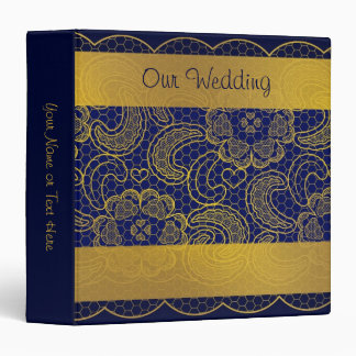 Navy Blue and Gold Lace Wedding Binder