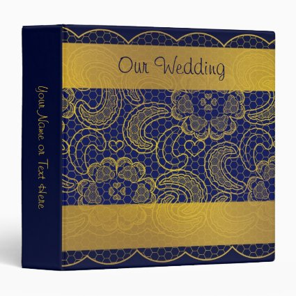 Navy Blue and Gold Lace Wedding Binders