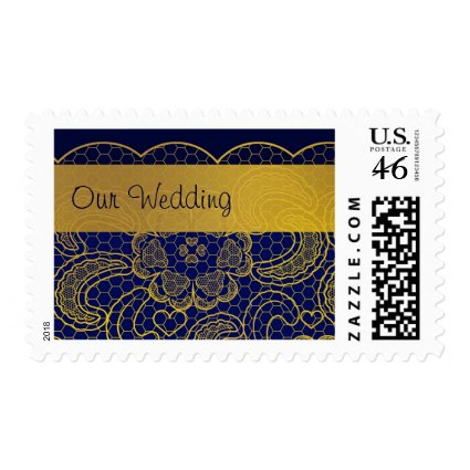 Navy Blue and Gold Lace Wedding Postage Stamp