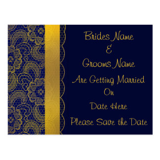 Navy Blue and Gold Lace Wedding Save The Date Postcard