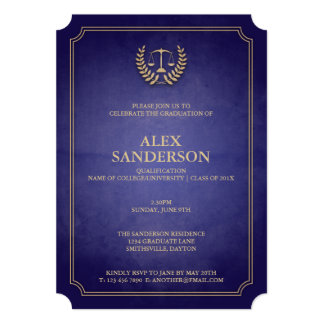 Navy Blue and Gold Law School Graduation 5x7 Paper Invitation Card