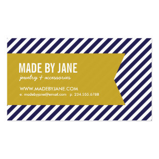 Navy Blue and Gold Modern Stripes and Ribbon Double-Sided Standard Business Cards (Pack Of 100)