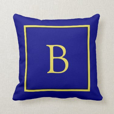 Navy Blue and Gold Monogrammed Throw Pillow