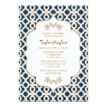 Navy Blue and Gold Moroccan Bridal Shower Invites 13 Cm X 18 Cm Invitation Card