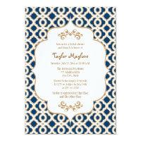 Navy Blue and Gold Moroccan Bridal Shower Invites 13 Cm X 18 Cm Invitation Card (<em>$2.16</em>)