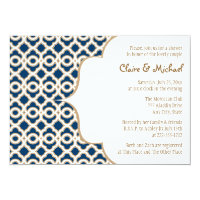 Navy Blue and Gold Moroccan Couples Wedding Shower 5x7 Paper Invitation Card (<em>$2.16</em>)