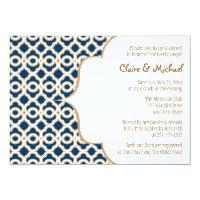 Navy Blue and Gold Moroccan Couples Wedding Shower Card (<em>$2.16</em>)