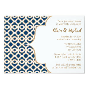 Navy Blue and Gold Moroccan Couples Wedding Shower 13 Cm X 18 Cm Invitation Card