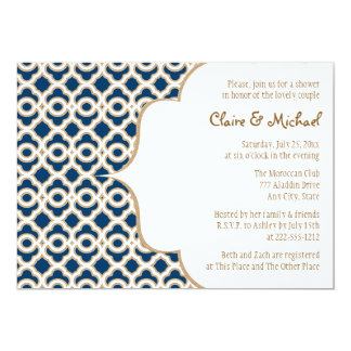 Navy Blue and Gold Moroccan Couples Wedding Shower 5x7 Paper Invitation Card