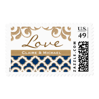 Navy Blue and Gold Moroccan Love Wedding Postage