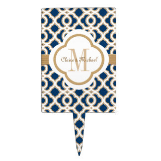 Navy Blue and Gold Moroccan Monogram Couples Cake Topper