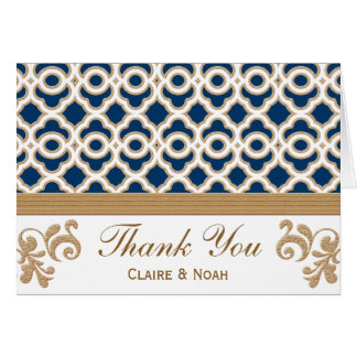 Navy Blue and Gold Moroccan Thank You Wedding Card