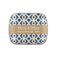 Navy Blue and Gold Moroccan Wedding Favor Jelly Belly Candy Tins at Zazzle
