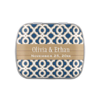 Navy Blue and Gold Moroccan Wedding Favor Jelly Belly Candy Tins