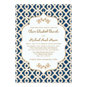 Navy Blue and Gold Moroccan Wedding Invitations 13 Cm X 18 Cm Invitation Card
