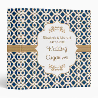 Navy Blue and Gold Moroccan Wedding Planner 3 Ring Binder