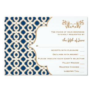 Navy Blue and Gold Moroccan Wedding Response Cards 9 Cm X 13 Cm Invitation Card