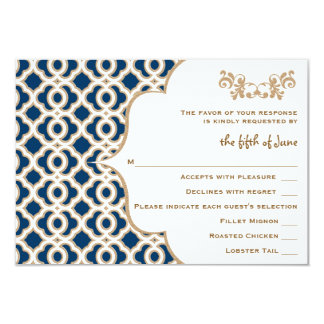 Navy Blue and Gold Moroccan Wedding Response Cards Custom Announcement