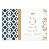 Navy Blue and Gold Moroccan Wedding Table Number 5x7 Paper Invitation Card (<em>$2.16</em>)