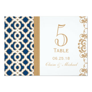 Navy Blue and Gold Moroccan Wedding Table Number Card