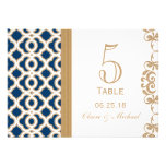 Navy Blue and Gold Moroccan Wedding Table Number Custom Announcements