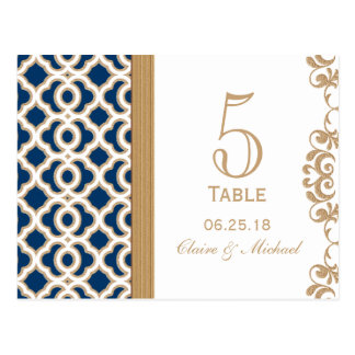 Navy Blue and Gold Moroccan Wedding Table Number Postcard