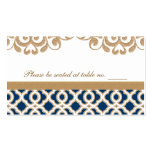 Navy Blue and Gold Moroccan Wedding Table Place Business Cards